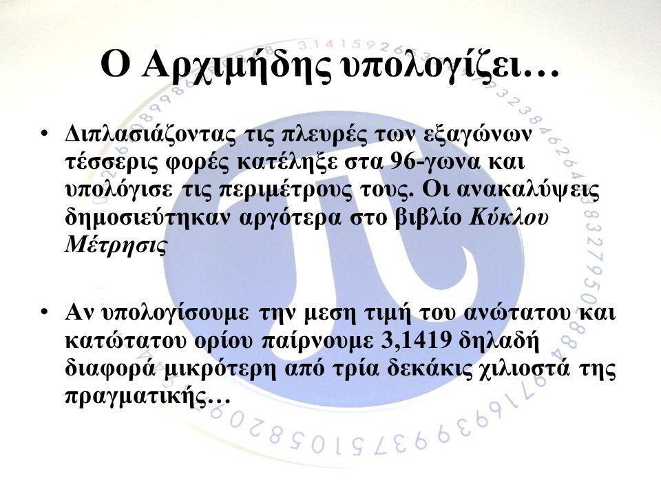 Ο Αρχιμήδης υπολογίζει…
