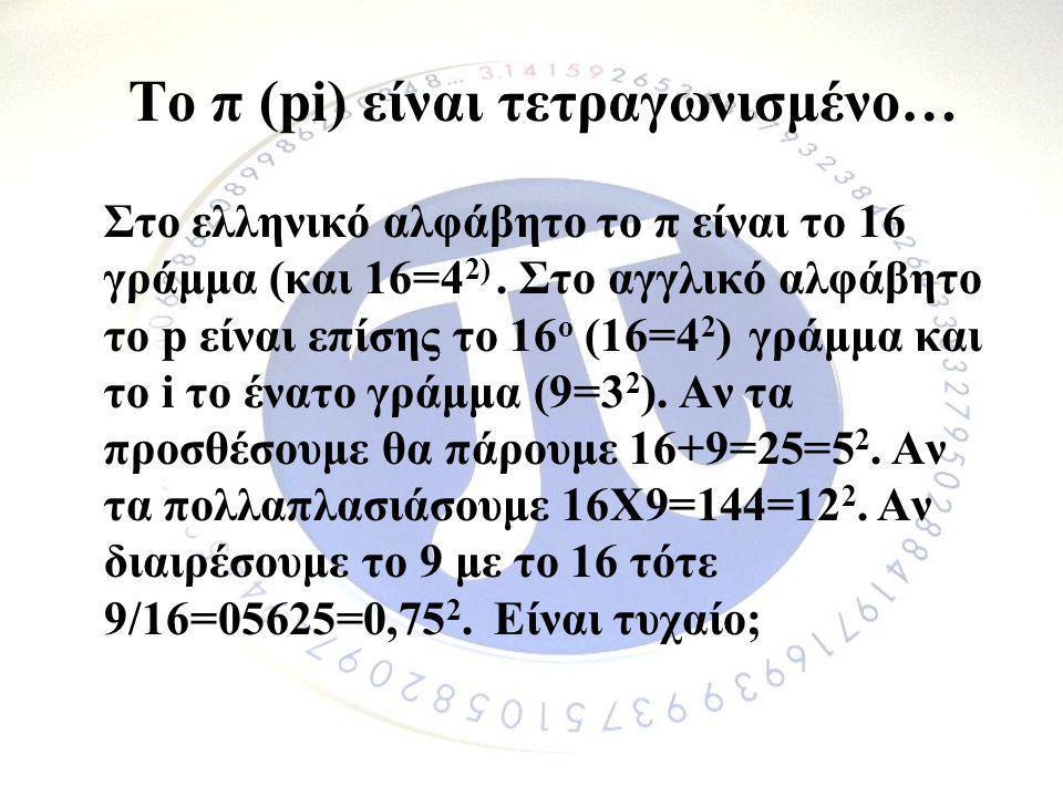 Το π (pi) είναι τετραγωνισμένο…