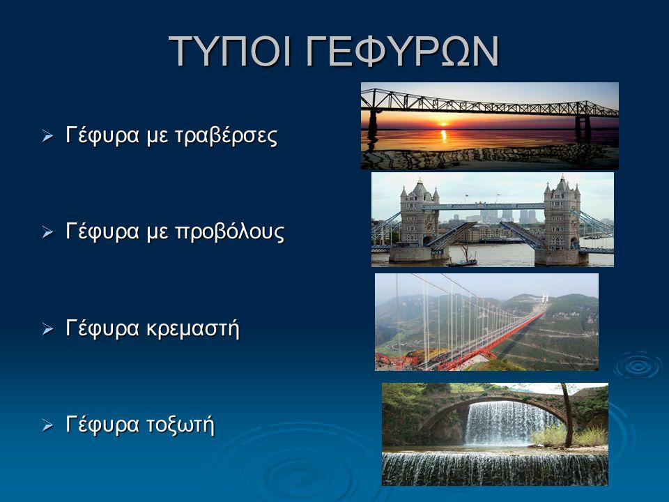 ΤΥΠΟΙ ΓΕΦΥΡΩΝ Γέφυρα με τραβέρσες Γέφυρα με προβόλους Γέφυρα κρεμαστή