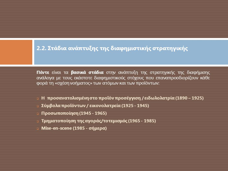 2.2. Στάδια ανάπτυξης της διαφημιστικής στρατηγικής