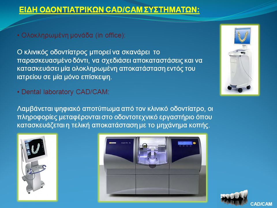 ΕΙΔΗ ΟΔΟΝΤΙΑΤΡΙΚΩΝ CAD/CAM ΣΥΣΤΗΜΑΤΩΝ: