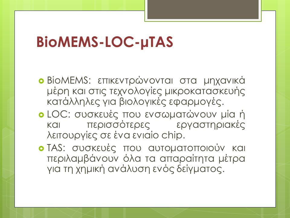 BioMEMS-LOC-μTAS BioMEMS: επικεντρώνονται στα μηχανικά μέρη και στις τεχνολογίες μικροκατασκευής κατάλληλες για βιολογικές εφαρμογές.