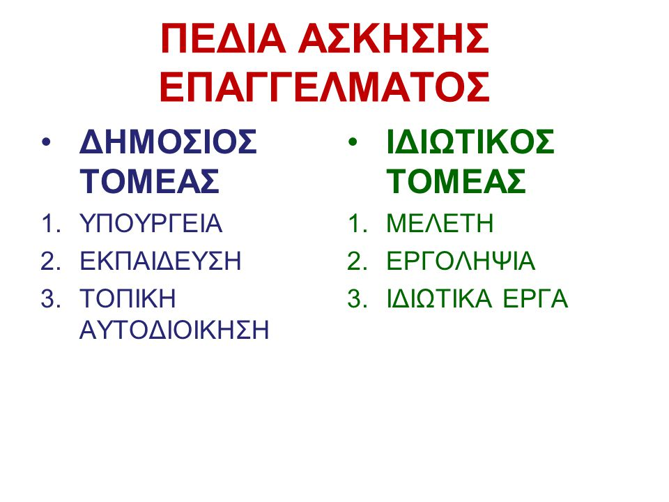 ΠΕΔΙΑ ΑΣΚΗΣΗΣ ΕΠΑΓΓΕΛΜΑΤΟΣ