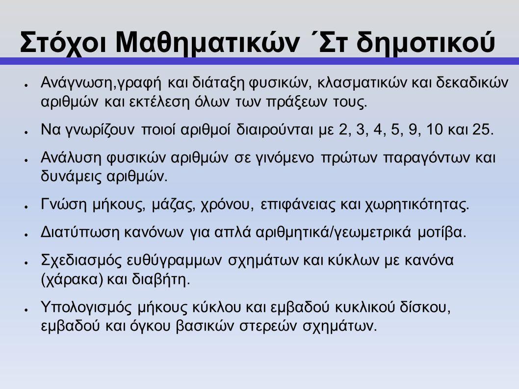 Στόχοι Μαθηματικών ΄Στ δημοτικού