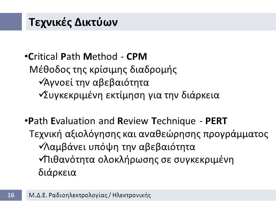 Τεχνικές Δικτύων Critical Path Method - CPM