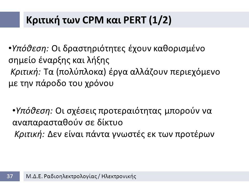 Κριτική των CPM και PERT (1/2)