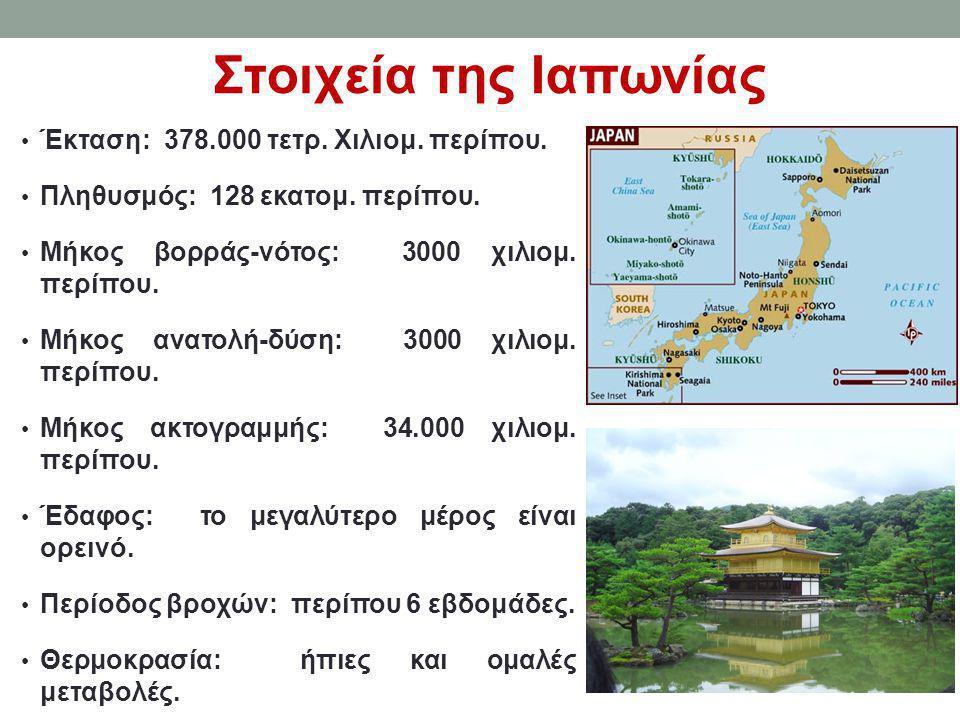 Στοιχεία της Ιαπωνίας Έκταση: 378.000 τετρ. Χιλιομ. περίπου.