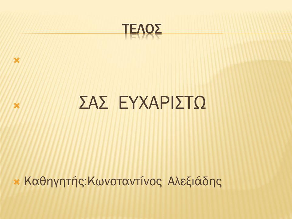 τελοσ ΣΑΣ ΕΥΧΑΡΙΣΤΩ Καθηγητής:Κωνσταντίνος Αλεξιάδης