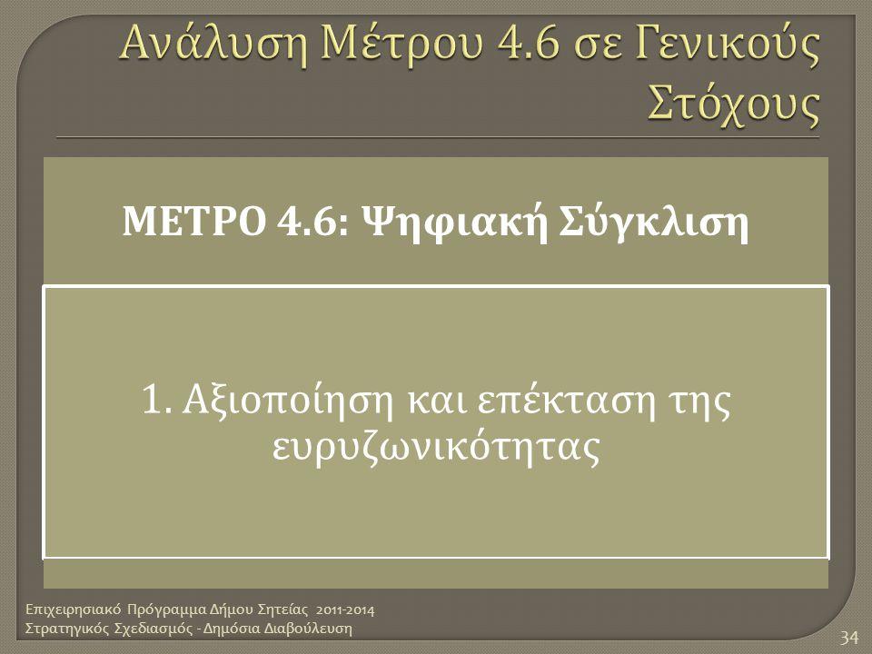 Ανάλυση Μέτρου 4.6 σε Γενικούς Στόχους