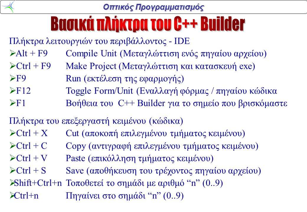 Βασικά πλήκτρα του C++ Builder