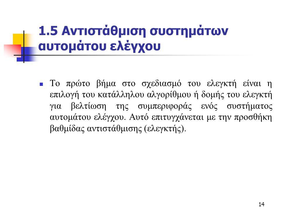 1.5 Αντιστάθμιση συστημάτων αυτομάτου ελέγχου