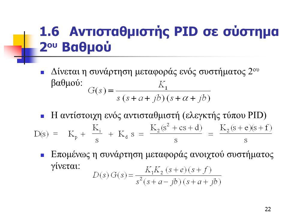1.6 Αντισταθμιστής PID σε σύστημα 2oυ Βαθμού