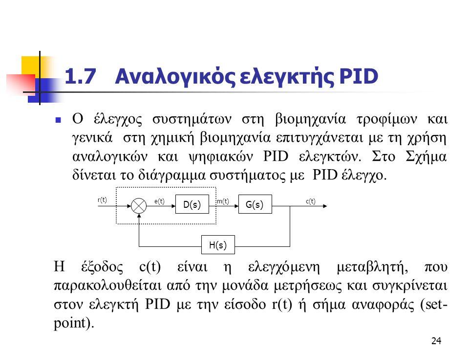1.7 Αναλογικός ελεγκτής PID