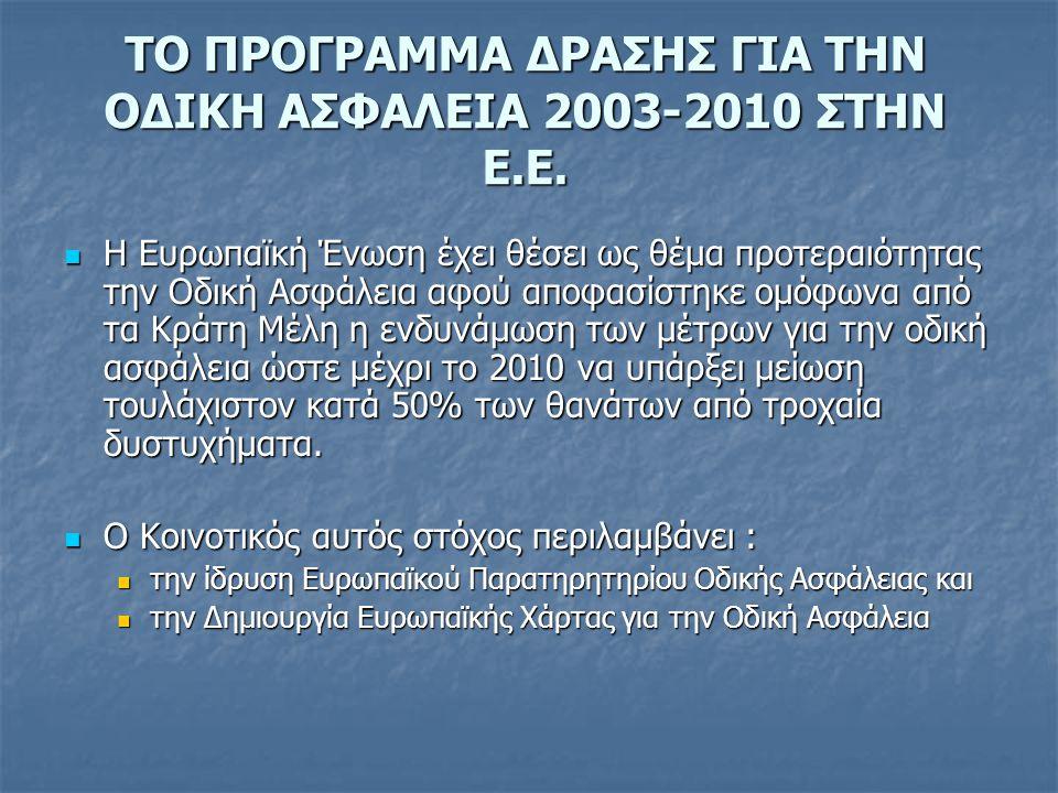 ΤΟ ΠΡΟΓΡΑΜΜΑ ΔΡΑΣΗΣ ΓΙΑ ΤΗΝ ΟΔΙΚΗ ΑΣΦΑΛΕΙΑ 2003-2010 ΣΤΗΝ Ε.Ε.