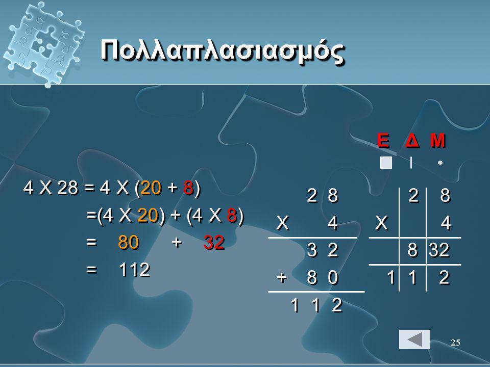 Πολλαπλασιασμός Ε Δ Μ 4 Χ 28 = 4 Χ (20 + 8) 2 8 2 8