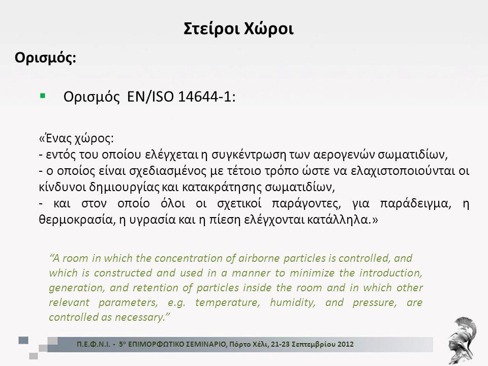 Στείροι Χώροι Ορισμός: Ορισμός EN/ISO 14644-1: «Ένας χώρος: