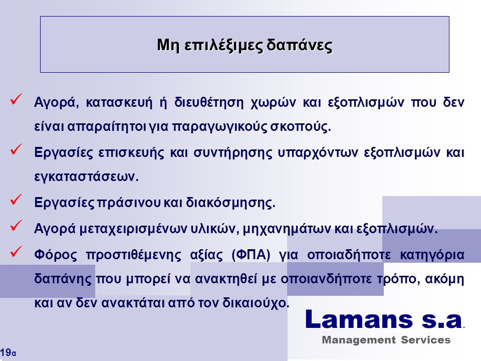 Lamans s.a. Μη επιλέξιμες δαπάνες