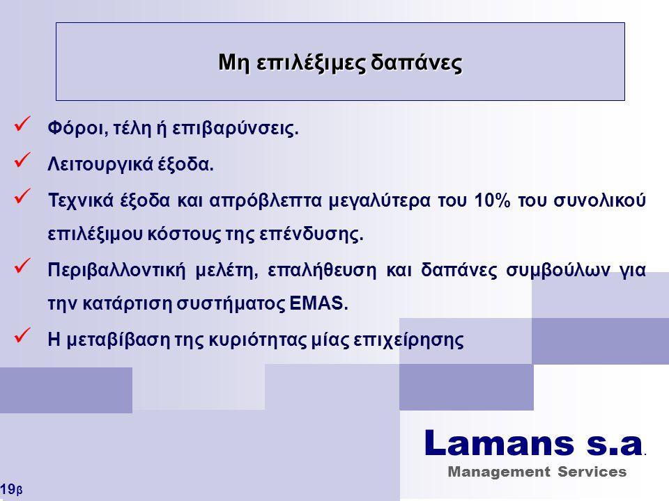 Lamans s.a. Μη επιλέξιμες δαπάνες Φόροι, τέλη ή επιβαρύνσεις.