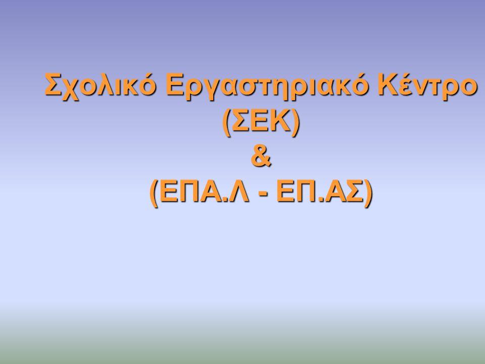 Σχολικό Εργαστηριακό Κέντρο (ΣΕΚ) & (ΕΠΑ.Λ - ΕΠ.ΑΣ)