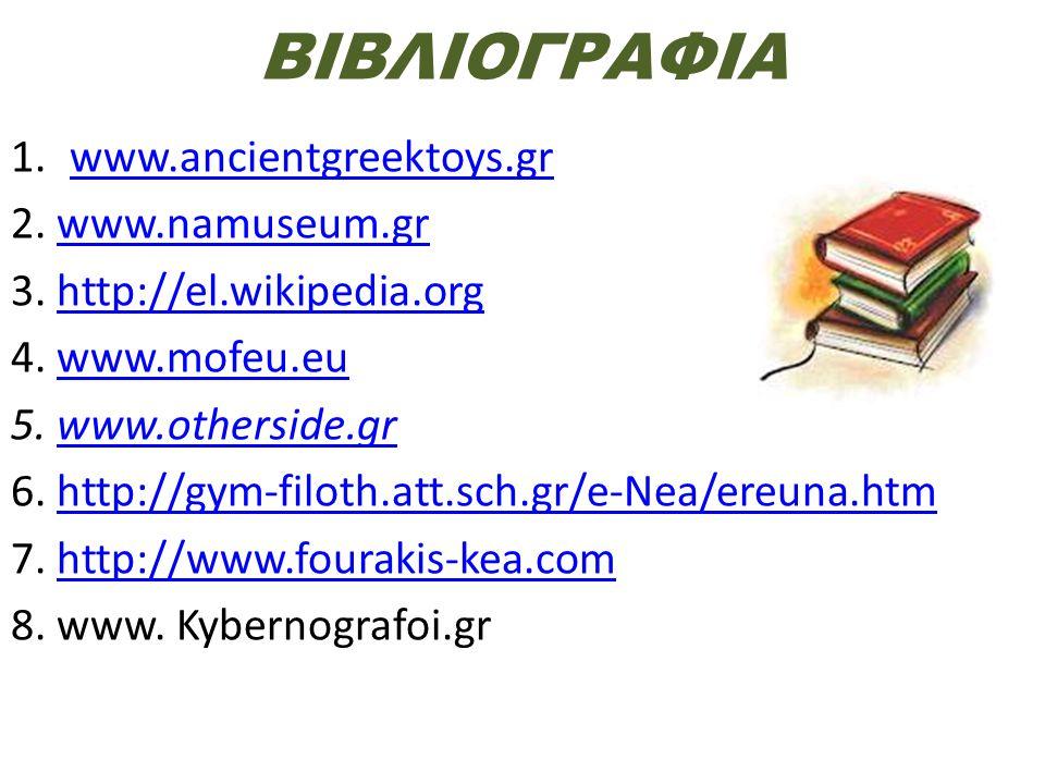 ΒΙΒΛΙΟΓΡΑΦΙΑ www.ancientgreektoys.gr 2. www.namuseum.gr