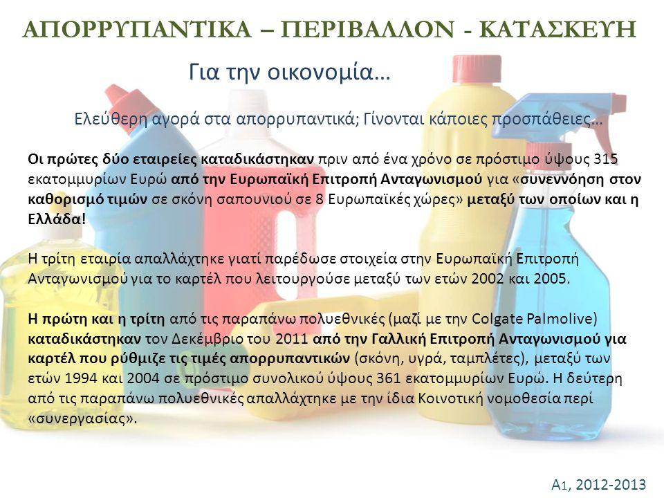 ΑΠΟΡΡΥΠΑΝΤΙΚΑ – ΠΕΡΙΒΑΛΛΟΝ - ΚΑΤΑΣΚΕΥΗ