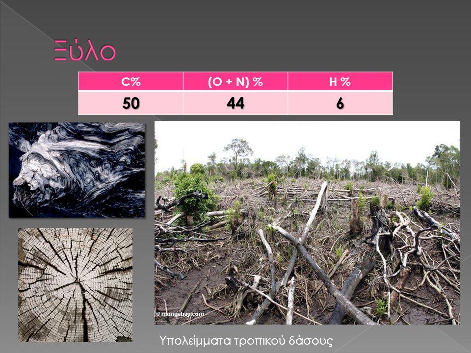 Ξύλο C% (O + N) % H % 50 44 6 Υπολείμματα τροπικού δάσους
