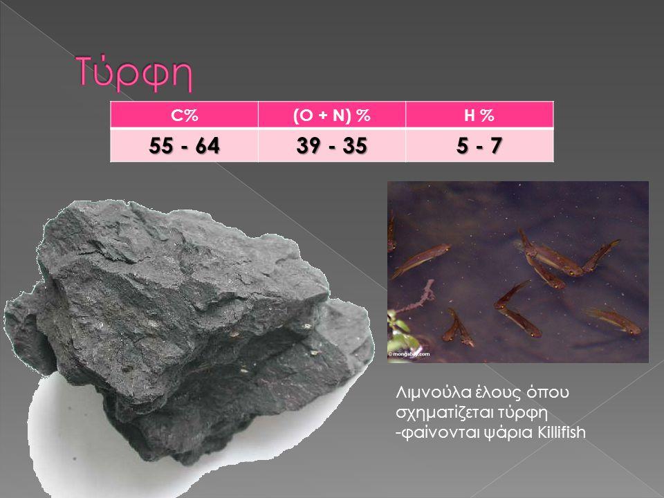 Τύρφη C% (O + N) % H % 55 - 64. 39 - 35. 5 - 7.