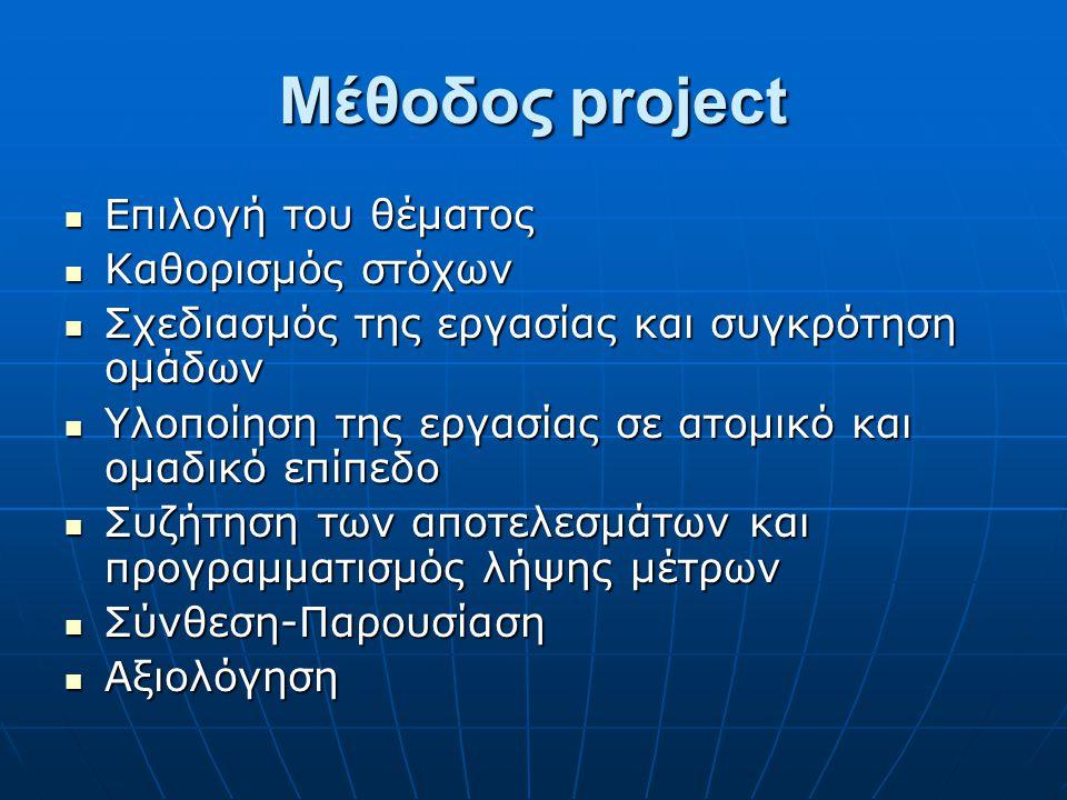 Μέθοδος project Επιλογή του θέματος Καθορισμός στόχων