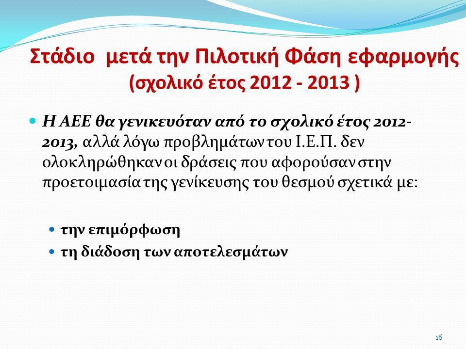 Στάδιο μετά την Πιλοτική Φάση εφαρμογής (σχολικό έτος 2012 - 2013 )