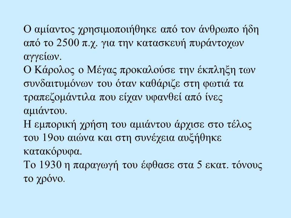Ο αμίαντος χρησιμοποιήθηκε από τον άνθρωπο ήδη από το 2500 π. χ