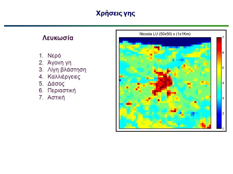Χρήσεις γης Λευκωσία Νερό Άγονη γη Λίγη βλάστηση Καλλιέργειες Δάσος