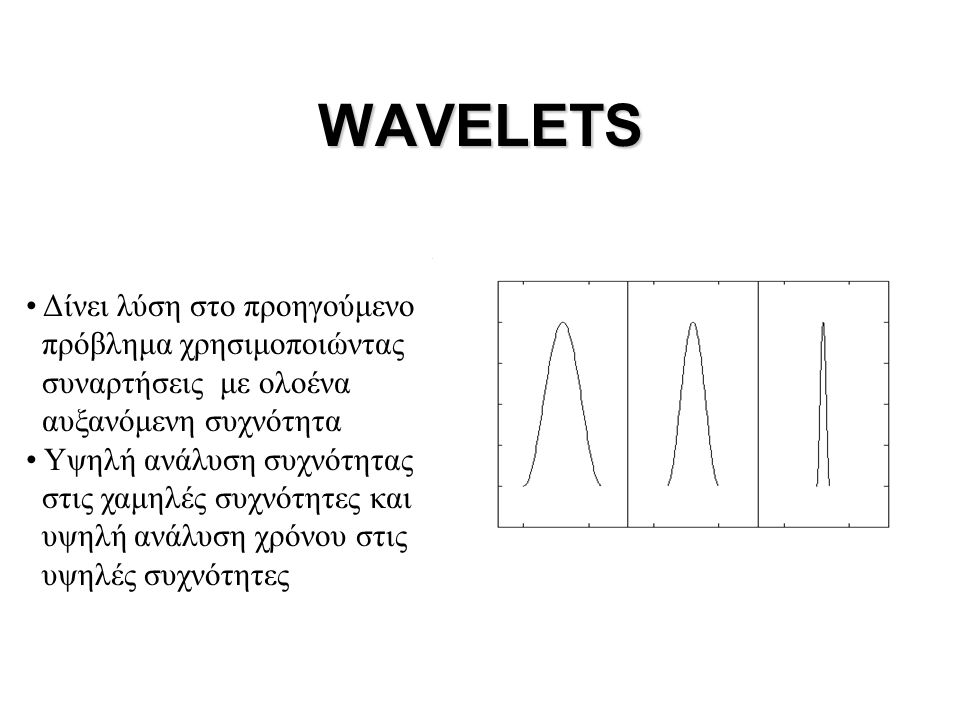 WAVELETS Δίνει λύση στο προηγούμενο πρόβλημα χρησιμοποιώντας
