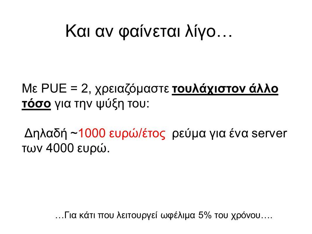 Και αν φαίνεται λίγο… Με PUE = 2, χρειαζόμαστε τουλάχιστον άλλο τόσο για την ψύξη του: Δηλαδή ~1000 ευρώ/έτος ρεύμα για ένα server των 4000 ευρώ.