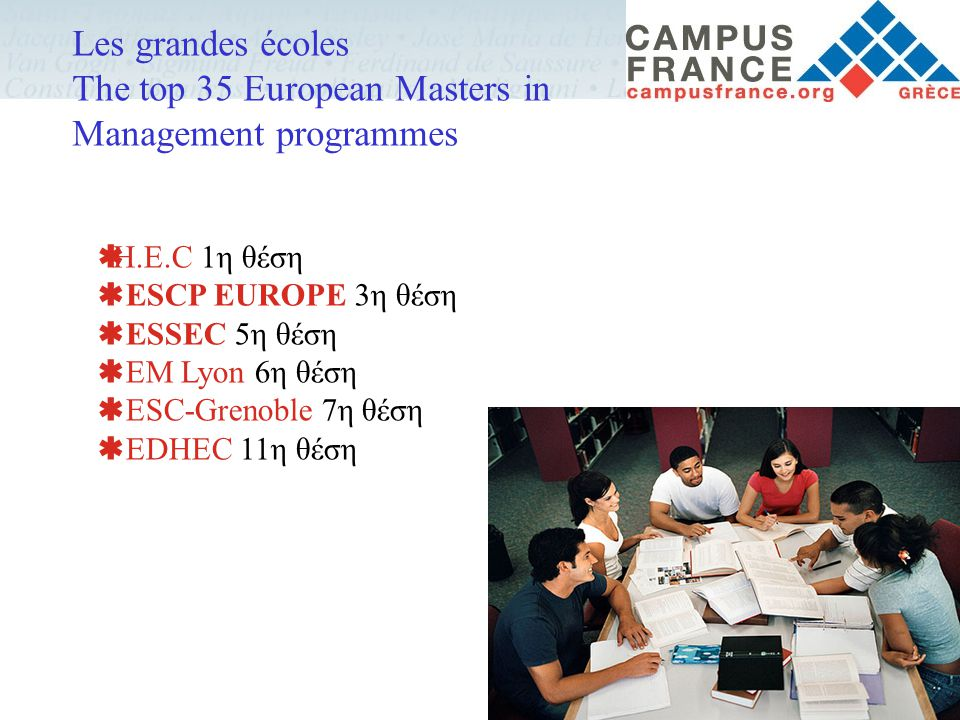 Les grandes écoles The top 35 European Masters in Management programmes