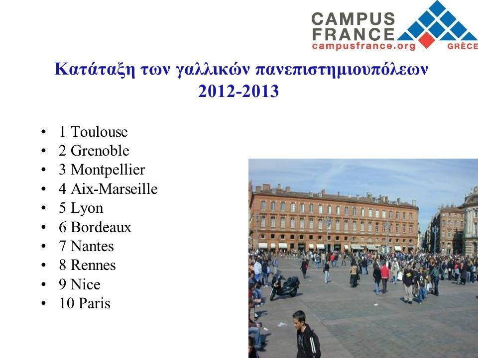 Κατάταξη των γαλλικών πανεπιστημιουπόλεων 2012-2013