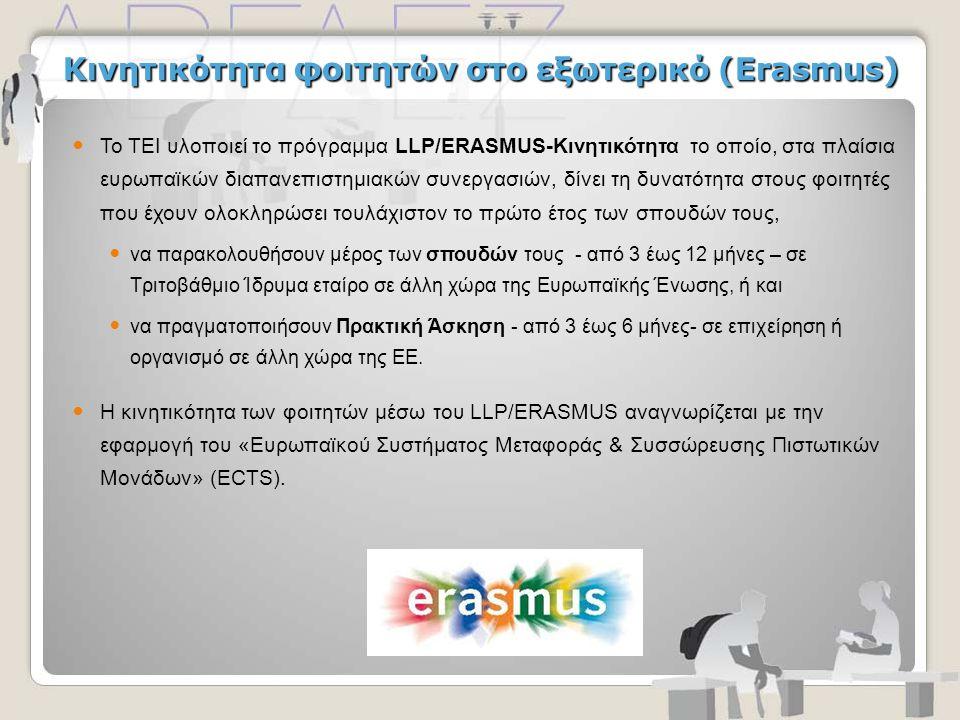 Κινητικότητα φοιτητών στο εξωτερικό (Erasmus)