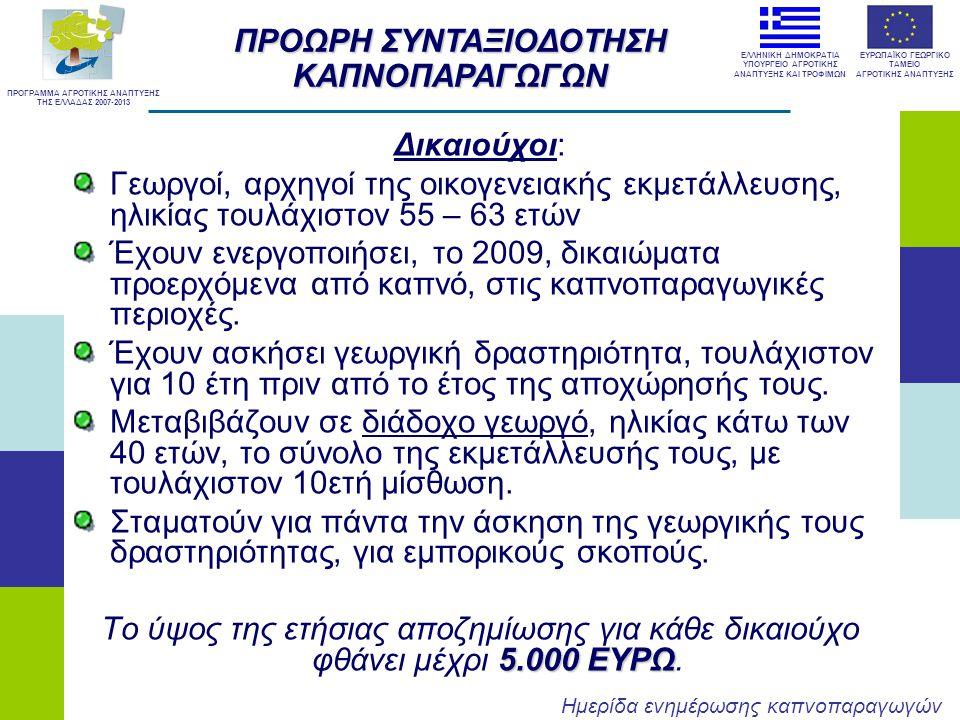 ΠΡΟΩΡΗ ΣΥΝΤΑΞΙΟΔΟΤΗΣΗ ΚΑΠΝΟΠΑΡΑΓΩΓΩΝ