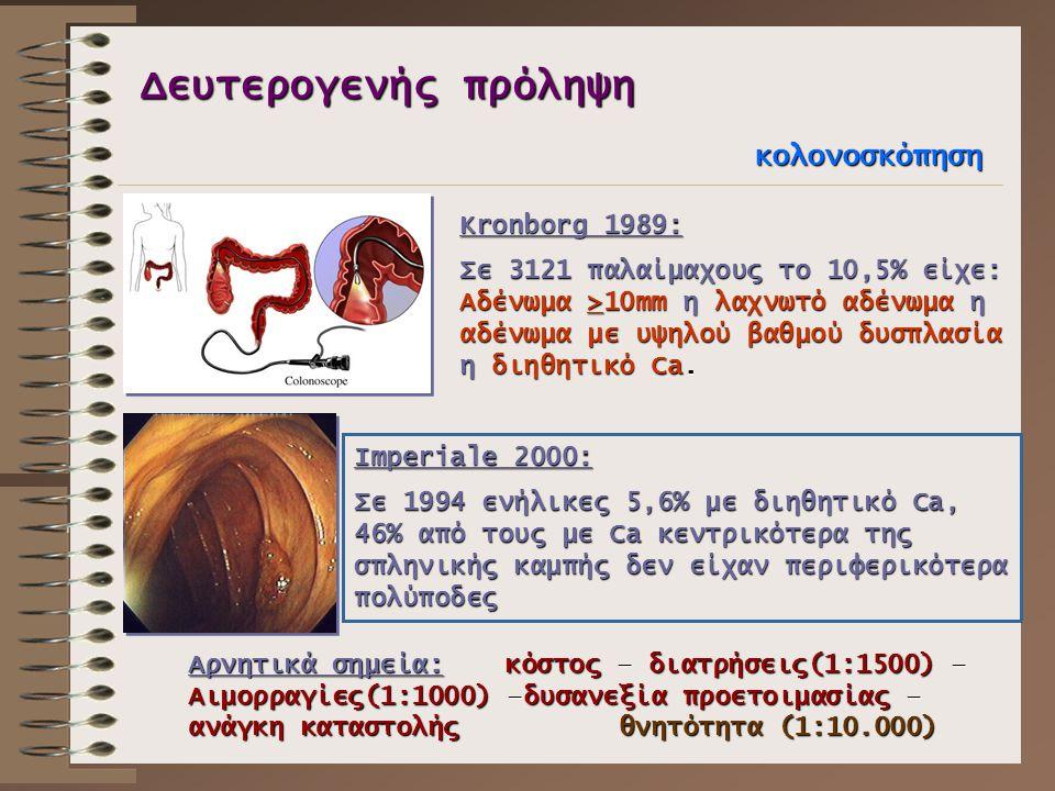 Δευτερογενής πρόληψη κολονοσκόπηση Kronborg 1989: