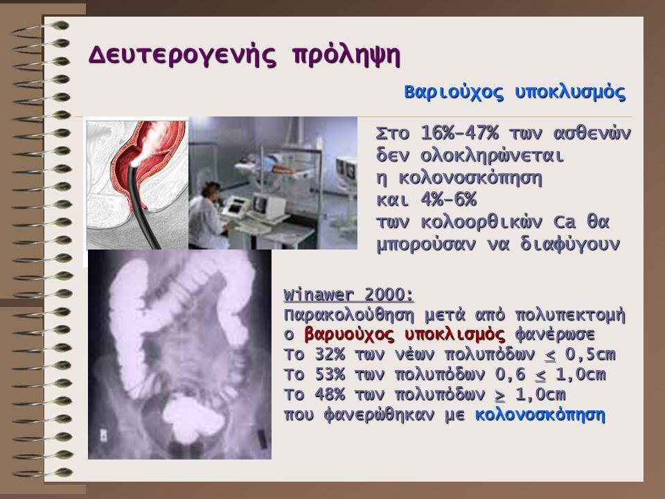 Δευτερογενής πρόληψη Βαριούχος υποκλυσμός Στο 16%-47% των ασθενών