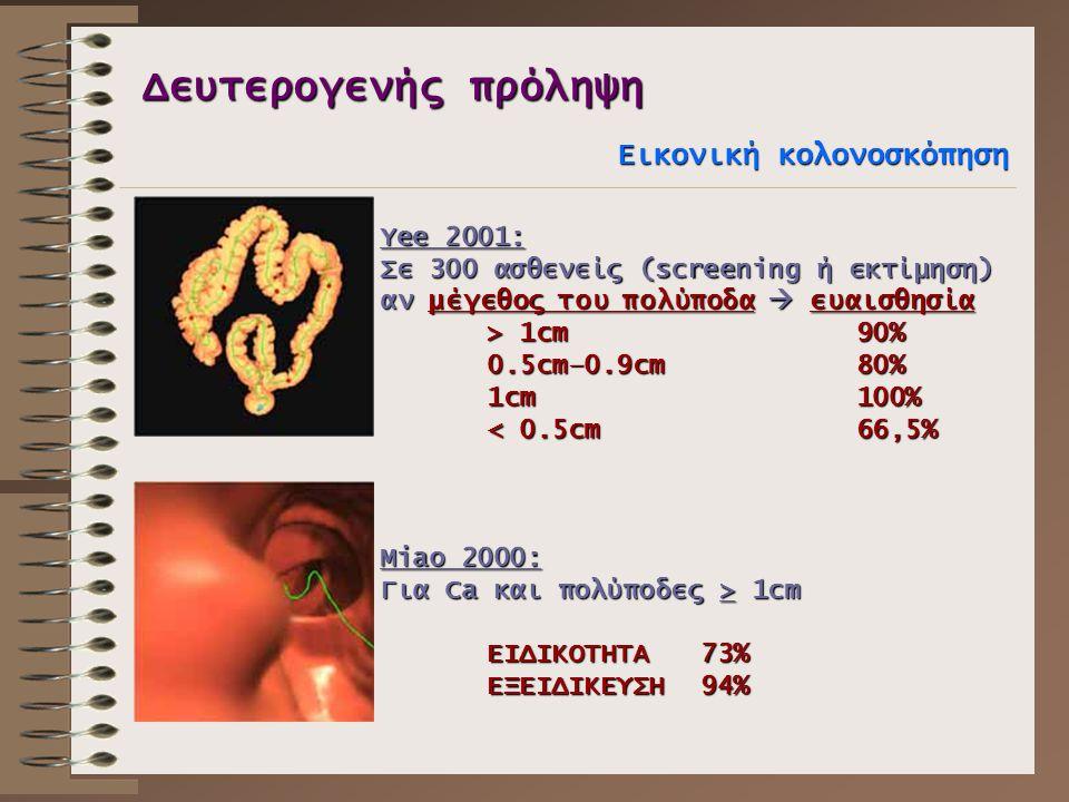 Δευτερογενής πρόληψη Εικονική κολονοσκόπηση Yee 2001: