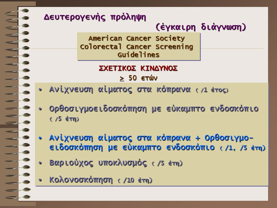 American Cancer Society Colorectal Cancer Screening