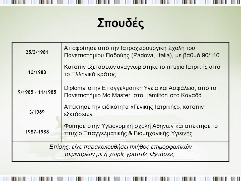 Σπουδές 25/3/1981. 10/1983. 9/1985 – 11/1985. 3/1989. 1987-1988.