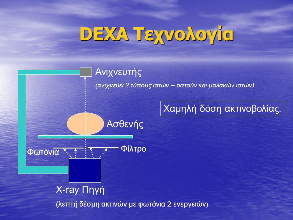 DEXA Τεχνολογία Ανιχνευτής Χαμηλή δόση ακτινοβολίας. Ασθενής