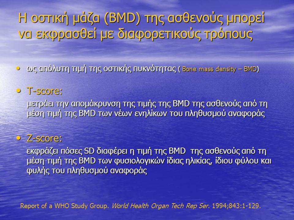 Η οστική μάζα (BMD) της ασθενούς μπορεί να εκφρασθεί με διαφορετικούς τρόπους