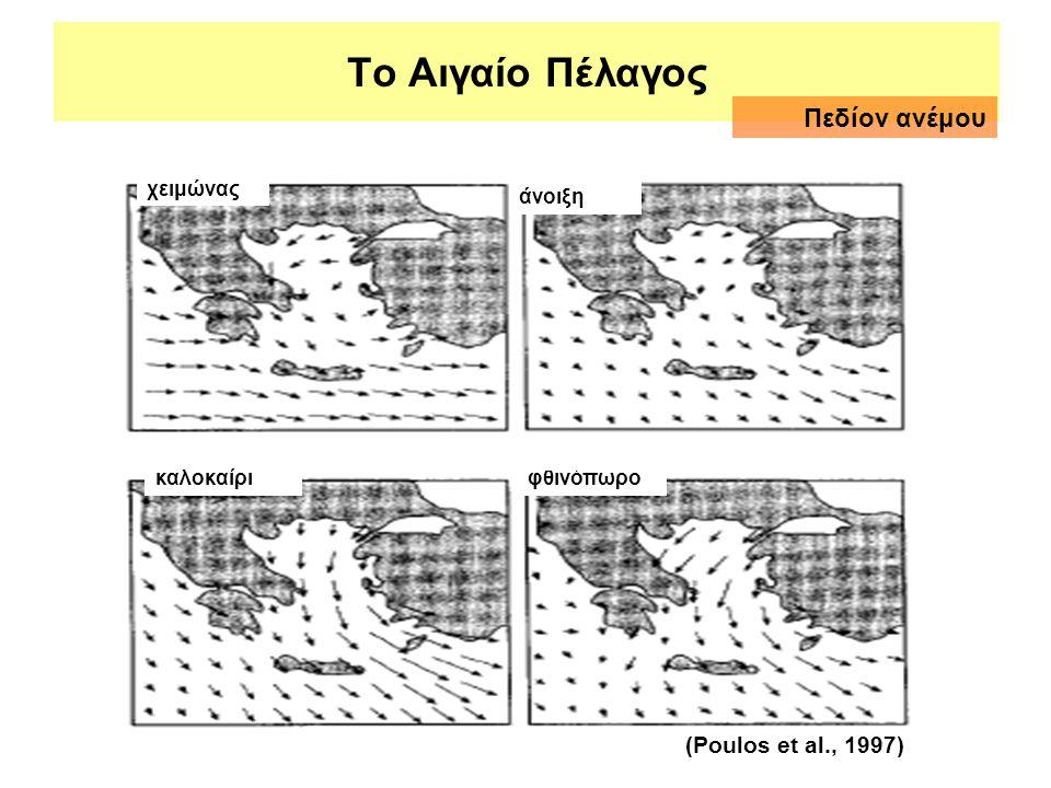 Το Αιγαίο Πέλαγος Πεδίον ανέμου (Poulos et al., 1997) χειμώνας άνοιξη