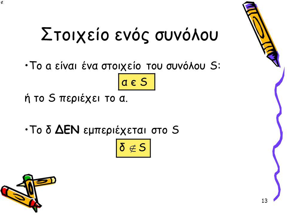 Στοιχείο ενός συνόλου α є S Το a είναι ένα στοιχείο του συνόλου S: