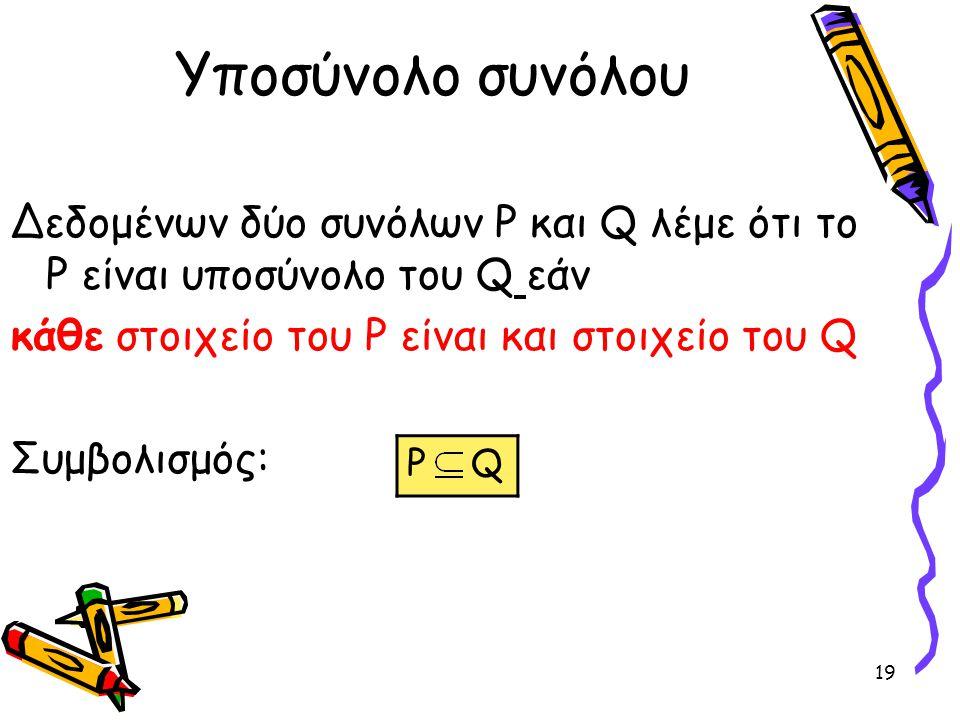Υποσύνολο συνόλου Δεδομένων δύο συνόλων P και Q λέμε ότι το P είναι υποσύνολο του Q εάν. κάθε στοιχείο του P είναι και στοιχείο του Q.