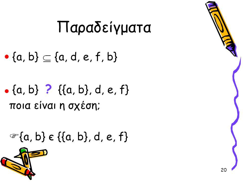 Παραδείγματα {a, b} {a, d, e, f, b} {a, b} {{a, b}, d, e, f}