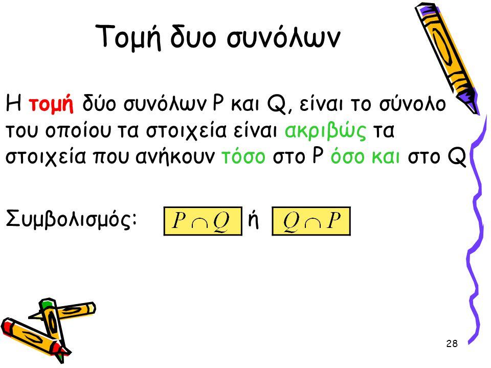 Τομή δυο συνόλων Η τομή δύο συνόλων P και Q, είναι το σύνολο του οποίου τα στοιχεία είναι ακριβώς τα στοιχεία που ανήκουν τόσο στο P όσο και στο Q.