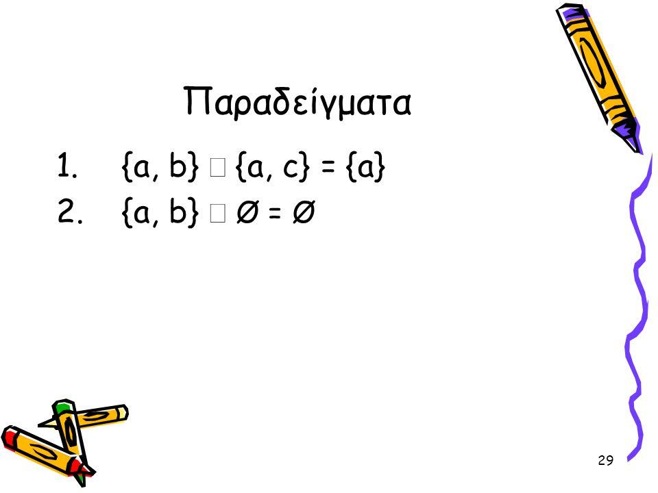Παραδείγματα {a, b} Ç {a, c} = {a} {a, b} Ç Ø = Ø
